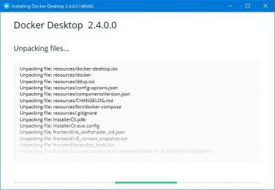 Docker Desktopインストール処理中(ファイルの展開)