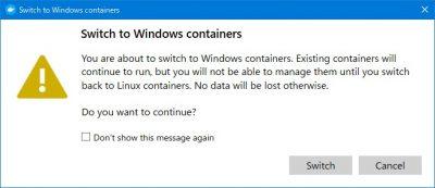 WindowsのDocker環境にスイッチする確認画面