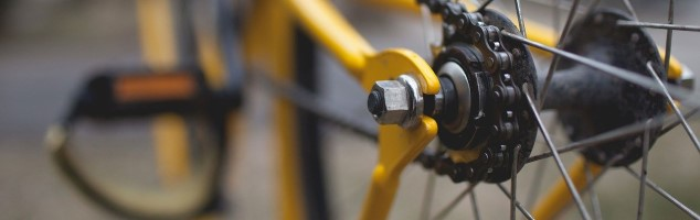 自転車の後輪部分のアップ